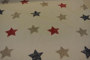 vit botten med stjärnor i rött,blått och grått