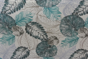 Fiona ljus botten med blad i turkos och grå toner