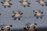 ljusblå botten med pandaflickor