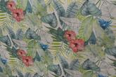 Blue Ju . Ljus botten med blommor i turkos och röda nyanser