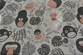 grå botten med apor i svart och silver