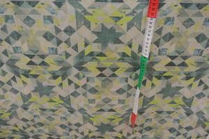 Möbeltyg med trianglar i grått och gult