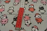 ljusgrå botten med fårhundar i rosa och röda toner